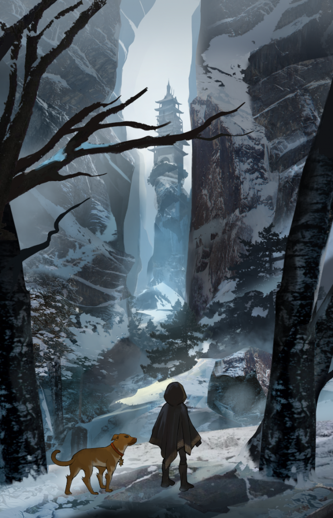 Official Ozaria art depicting the hero and their dog in a winter landscape looking up at a mysterious tower in the distance.